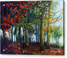 Acrylic Print featuring the painting Woodland Trail by Hailey E Herrera