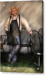 Woodworker - The Chair Maker  Acrylic Print by Mike Savad