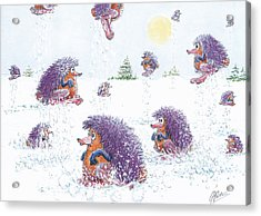 Woolly Snow Hoppers Acrylic Print