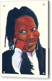 Acrylic Print featuring the painting Woopy Goldberg by Emmanuel Baliyanga