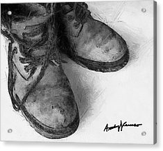 Work Boots Acrylic Print by Anthony Caruso