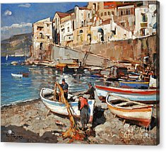 Acrylic Print featuring the painting Work Never Ends For Amalfi Fishermen by Rosario Piazza