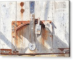 Work Trailer Lock Number One Acrylic Print by Ken Powers