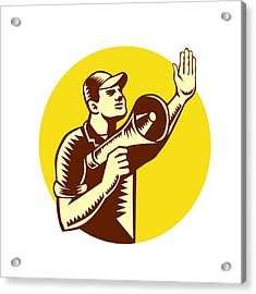 Worker Holding Megaphone Circle Woodcut Acrylic Print