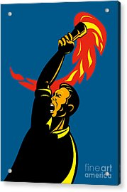Worker With Torch Acrylic Print by Aloysius Patrimonio