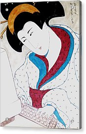Acrylic Print featuring the greeting card Working Girl by Rae Chichilnitsky