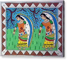 Working In Farms Madhubani Painting Acrylic Print by Aboli Salunkhe