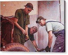 Acrylic Print featuring the photograph Working On Classic Cars Havana Cuba by Joan Carroll
