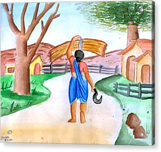 Working Woman Returning Home Acrylic Print by Tanmay Singh