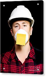 Workman With A Sticky Note Reminder Acrylic Print