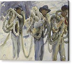 Workmen At Carrara Acrylic Print by John Singer Sargent