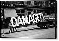 Workmen Hauling Damaged Sign Walker Evans Photo New York City 1930 Color Added 2008 Acrylic Print