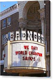 World Champion Saints Acrylic Print by Jeanne  Woods