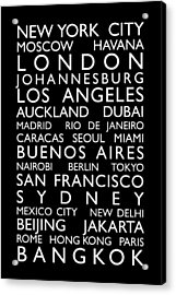 World Cities Bus Roll Acrylic Print by Michael Tompsett