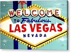 World Famous Las Vegas Sign Daytime Acrylic Print by Teo Alfonso