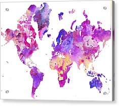 World Map 1 Acrylic Print by Donny Art