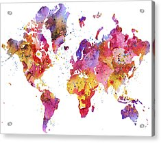 World Map 2 Acrylic Print by Donny Art