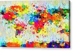 World Map Abstract 3 - Pa Acrylic Print by Leonardo Digenio