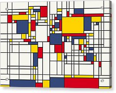 World Map Abstract Mondrian Style Acrylic Print