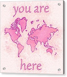 World Map Airy You Are Here In Pink And White Acrylic Print