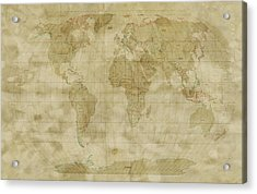 World Map Antique Style Acrylic Print by Michael Tompsett
