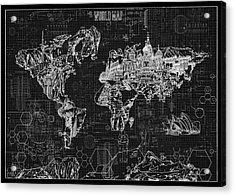 Acrylic Print featuring the digital art World Map Blueprint 2 by Bekim Art