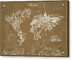 World Map Blueprint 4 Acrylic Print by Bekim Art