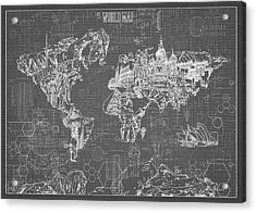 World Map Blueprint 5 Acrylic Print