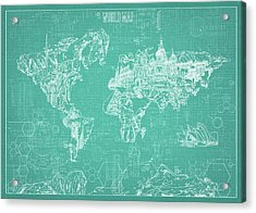 World Map Blueprint 7 Acrylic Print by Bekim Art