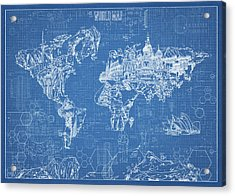 World Map Blueprint Acrylic Print by Bekim Art