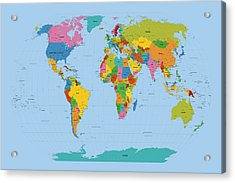 World Map Bright Acrylic Print by Michael Tompsett