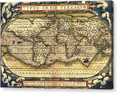 World Map From The Theatrum Orbis Terrarum 1570 Acrylic Print by Pg Reproductions