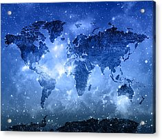 World Map Galaxy 9 Acrylic Print by Bekim Art