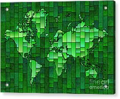 World Map Glasa Green Acrylic Print by Eleven Corners