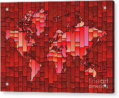 World Map Glasa Red Acrylic Print