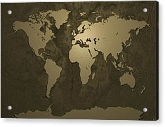 World Map Gold Acrylic Print by Michael Tompsett