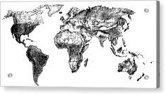 Acrylic Print featuring the drawing World Map In Graphite by Heidi Kriel