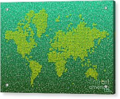 World Map Kotak In Green And Yellow Acrylic Print