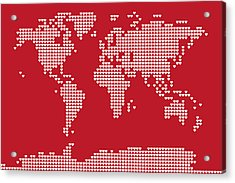 World Map Love Hearts Acrylic Print by Michael Tompsett