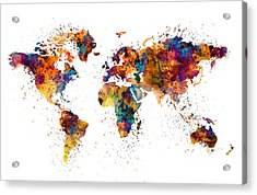 World Map Acrylic Print by Marian Voicu