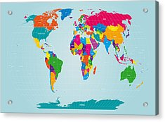 World Map  Acrylic Print by Michael Tompsett