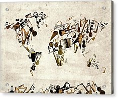 Acrylic Print featuring the digital art World Map Music 1 by Bekim Art