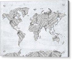 World Map Music 10 Acrylic Print