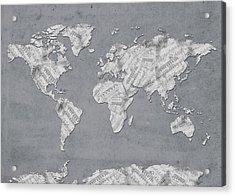Acrylic Print featuring the digital art World Map Music 11 by Bekim Art