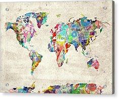 World Map Music 12 Acrylic Print