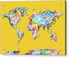 Acrylic Print featuring the digital art World Map Music 13 by Bekim Art