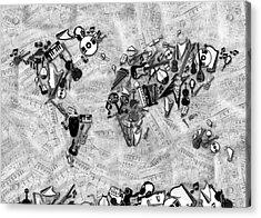 Acrylic Print featuring the digital art World Map Music 2 by Bekim Art