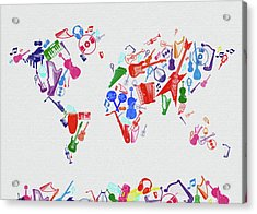Acrylic Print featuring the digital art World Map Music 3 by Bekim Art
