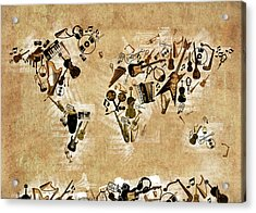 Acrylic Print featuring the digital art World Map Music 4 by Bekim Art