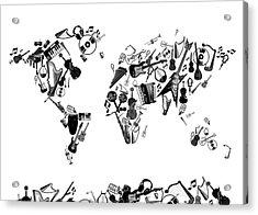 Acrylic Print featuring the digital art World Map Music 7 by Bekim Art